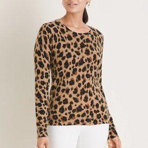 NWT CYNTHIA ROWLEY Cashmere Sweater Leopard Print